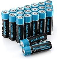POWERADD 20pcs Piles Alcalines Type AA 1,5V Longue Durée Pile LR6 pour Jouet, Réveil, Télécommande Portable et d'Autres…