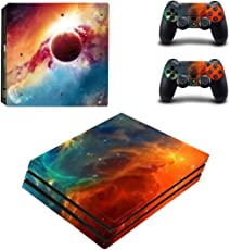 Elton Space-Galaxy-Universe-Stars Theme 3M Skin Sticker Cover for PS4 Pro Console and Controllers