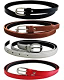 Devil Girl's PU Leather Belts Combo of 4 (Black,Brown,White & Red)
