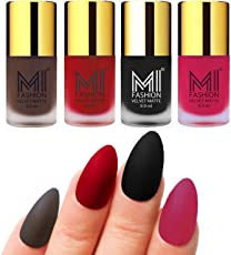 Mi Fashion Velvet Dull Matte Nail Polish, Coffee, Tomato Red, Black, Pink, 39.6ml (4 Pieces)