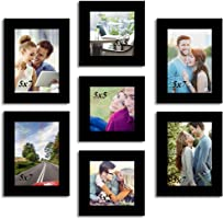 Painting Mantra Wood Wall Photo Frame Set (Set of 7, Black)