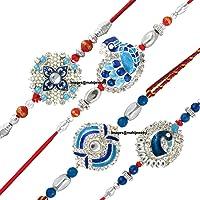Mahi Combo of Peacock Four Rakhis for Dearest Brothers (Bracelet) CO1104285RC