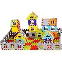 Vijaya Impex 90 pcs Jumbo Blocks House Multi Color Building Blocks with Smooth Rounded Edges - Building Blocks for Kids…