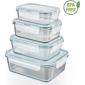 GOURMETmaxx 01821 Glas-Frischhaltedosen | 4er Set Klick-It Dosen mit Deckel | Silikon Dichtungsring | Glasbehälter mit Deckel | Smaragdgrün