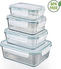 GOURMETmaxx 01821 Glas-Frischhaltedosen   4er Set klick-It Dosen mit Deckel   Silikon Dichtungsring   Glasbehälter mit Deckel   Smaragdgrün