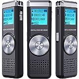 Dictaphone Numérique,TENSAFEE 8GB Dictaphone,Rechargeable HD avec double micro enregistreur audio vocal numérique,lecteur mp3/a-b répète, voix pour des Conférences/Classe /d'enregistrement