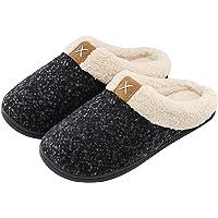 ULTRAIDEAS Ladies' Cozy Memory Foam Slippers Fuzzy Wool-Like Plush Fleece Lined House Shoes w/Indoor, Outdoor Anti-Skid Rubber Sole