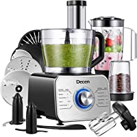 Decen Food Processor Multifunctional, 1100W Blender Food Processor with 3.5L Bowl and 3 Speed Settings ( Include blender, chopper, mixer, coffee grinder, citrus juicer), Silver