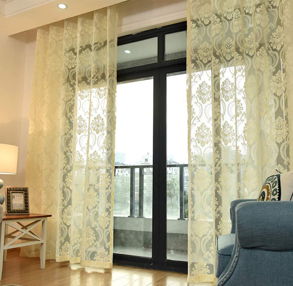 Tenda di pizzo ricamata floreale,Tendina occhiello,Tenda trasparente,Tulle  Trattamento voile drappeggio,Per soggiorno camera da letto balcone/Tenda ...