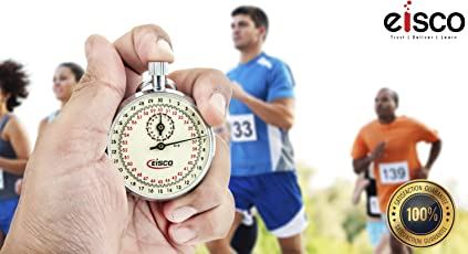 EISCO - Premium Mechanical Analogue Professional Stopwatch, Steel Case with High Clarity Glass, Indicates 1/10th Second with 15 Minutes Dial Embedded, Winding Mechanism, Ring For Thread and Comes In A Premium Box