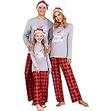 Akalnny Conjunto de Pijamas Navideños Familiares Ropa de Navidad de Familia Casa Transpirable Suave Cómodo