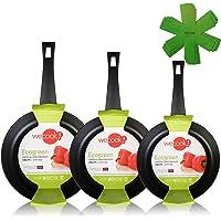 WECOOK Ecogreen Set di 3 padelle 18-20-24 cm in Alluminio, a induzione, Antiaderente Ecologico Senza PFOA, Lavabile in…