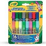 Crayola - Colle Glitter in tubetto, lavabili, 16 colori assortiti, per scuola e tempo libero, 69-4200
