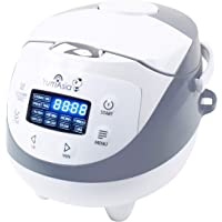 Yum Asia Panda Mini Rice Cooker With Ceramic Bowl and Advanced Micom Fuzzy Logic (YUM-EN06) 4 Rice Cooking Functions, 4 Multicooker functions, Motouch LED display (0.63 Litre) 220-240V UK/Europe Power