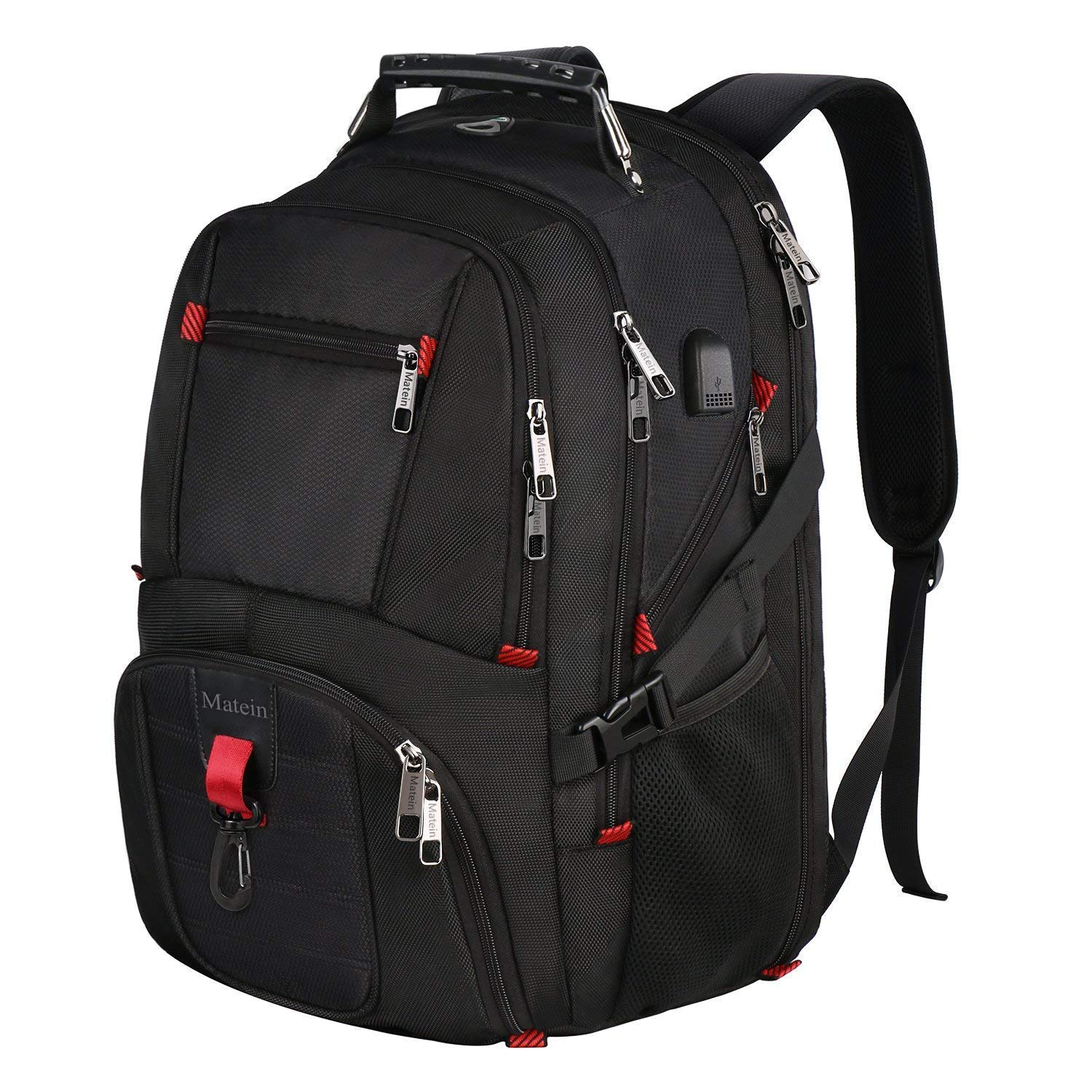 Water Resistant College School Computer Bag for Women Men Black Xnuoyo 17.3inch Travel Laptop Backpack Unisex Business Rucksack with USB Charging Port Headphone Hole