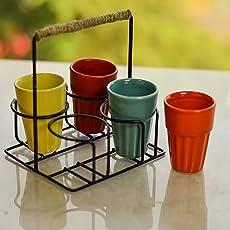 Ceramic Cutting chai Glass with stand, multicolor ceramic glasses