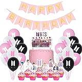 Jimiston BTS Birthday Party Supplies- 30 globos BTS / 22 cupcake Topper / 1 Happy Birthday Cake Topper / 1 Banner para el ejé