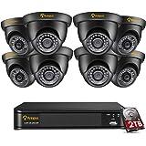 Anlapus 4K 8MP UHD 8CH H.265+ DVR avec Disque Dur 2 to et 8pcs Caméra Surveillance Extérieure IP66 de 4K (3840x2160) Qualité