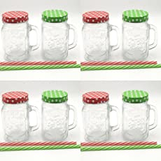 Satyam Kraft Glass Without Hole Mason Jar with Polka Dot Lid and Straw(RANDOM COLOUR)(500 ml)suitable to use in your home office ,jars for juices /glass jars set /glass jars for kitchen /glass jar containers /glass jar for gift /glass jar /mason glass jar without hole/