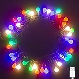 40 LED 16ft Cadena Luces USB, IP65 Impermeable, Fulighture Decorativas Guirnaldas Luminosas para Exterior,Interior, Jardines,