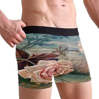 BIGJOKE Men's Underwear Boxer Briefs Shorts Valentine Rose Tree, Sexy Bulge Pouch Thong S-XL