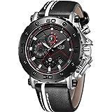 LIGE Montre Homme Sport Militaire 3ATM Étanche Chronographe Lumineux Mode Classique Grand Cadran avec Date Analogique Quartz