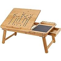 SONGMICS Table d'Ordinateur Pliable, Support d'Ordinateur, Bambou Naturel, Tablette Réglable, Encoche, Tiroir, 55 x 35 x…