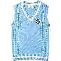 WOOKIT Women's Sleeveless Sweater Cosplay Costume Classic School Vest Jacket Cute V-Neck School Uniform Knitted Top