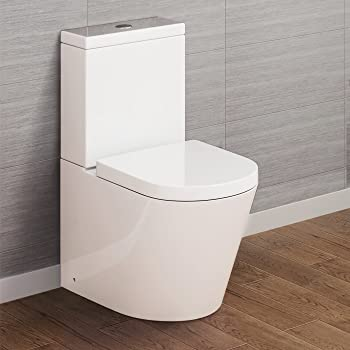 Gloss White Esq Close Coupled Toilet Pan Cistern and Seat Modern Square Design Bathroom WC Central Dual Push-Button Flush