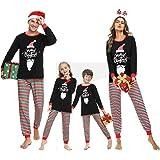 Irevial Pijamas de Navidad Familia Conjunto, Pijamas Navideños Invierno Manga Larga 2 Piezas, Navidad Ropa de Dormir Casa par