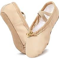 Scarpe Danza Classica in PU Pelle Cotone Scarpe da Ballerina Scarpette Ballo Bambina con Suola Intera in Cuoio per…