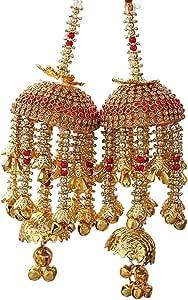 Geetanjali Plastic Handmade Traditional Wedding Kalere/Kaleera/Bridal Hand Hanging Kalira for Brides, Women 8403 (Red, Gold) Set of 2 Pair