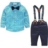 Yilaku 4 Piezas Ropa Bebe Niño Conjuntos de Primavera Camisa de Manga Larga + Pantalón + Pajarita + Tirantes Ropa Niño Caball