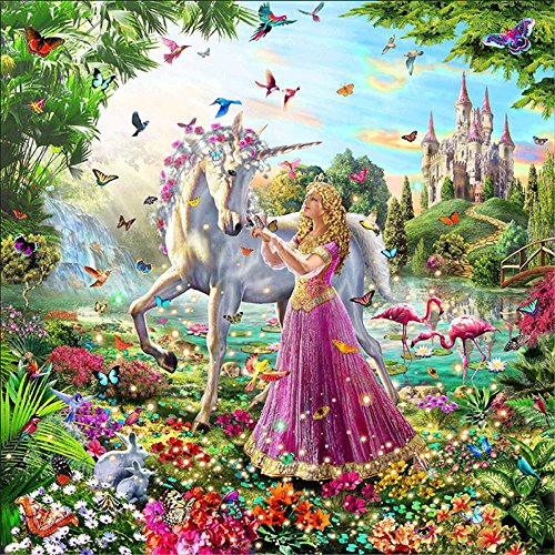 INJOYS 5D DIY Diamond Painting by Numbers Kits Partial Drill Crystal Embroidery Cross Stitch Rhinestone Mosaic Drawing Art Craft Home Wall Decor, Red Dress Girl and Unicorn