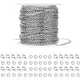 WXJ13 36 Foot / 10.9 m in acciaio INOX argento collegamento cavo catena con 20 chiusure e 30 anelli per uomo e donna, catena