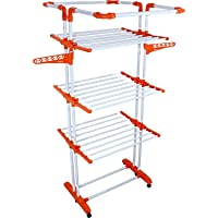 Ciplaplast Mild Steel and Co-polymer Cloth Dryer Stand Drying Rack for Home and Balcony - King Jumbo (Orange)