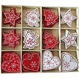 Yalulu Ensemble de 60 Ornements d'arbre de Noël Accessoires de Noël Décoratifs de Blanc Rouge Pendentifs en Bois Décoration p