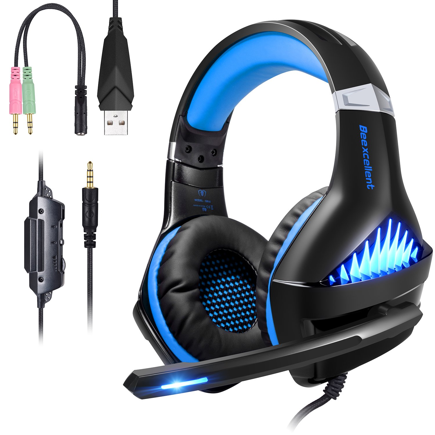 Casque Gaming PS4 PC Xbox One Switch, Samoleus Casque Gamer avec Micro Anti Bruit LED Lampe 3.5mm Audio Surround Stéréo Basse Contrôle du Volume Microphone Réglable, Compatible pour Xbox One, PS4, PC, Laptop, Tablette, Mac, iPad, Smartphone, Playstation 4
