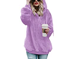 iWoo Teddy Fleece Sweatshirts Womens Casual Double Fuzzy Fluffy Hoodie Solid Color Warm Stylish 1/4 Zip Pullover with Pockets