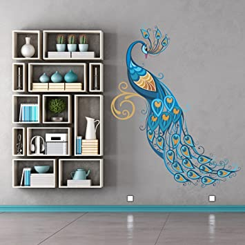 Blue Peacock Wall Sticker Birds U0026 Feather Wall Decal Art Girls Living Room  Decor Available In 8 Sizes Small Digital: Amazon.co.uk: Kitchen U0026 Home Part 78