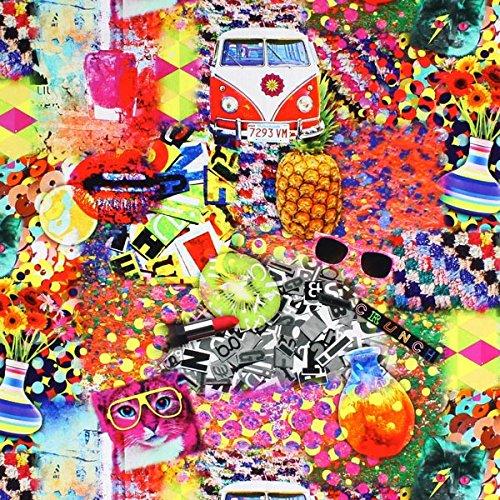 Fabulous Fabrics Hippie Cat - Meterware ab 0,5m - zum Nähen von Kissen, Vorhänge und Tischdecken Hippie Cat