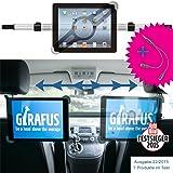Girafus Relax H3 Universale Tablet Auto Kfz-Kopfstützen-Halterung für Rücksitz für 9-10-11 Zoll Tablets - iPad, Galaxy Tab, Fire HD 10 – Mittig platzierbar für optimale Sicht von der Rücksitzbank