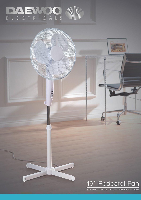 """71ZJCqyrGxL - Netagon 16"""" Electric Oscillating Floor Standing Pedestal Air Cooling Fan (White)"""