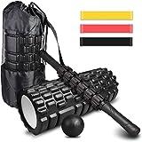 4-en-1 Foam Roller Kit , Rodillo Espuma, Rodillo Masaje, Bola de Masaje, Bandas Elasticas Fitness(3set), Rulo Masaje Muscular