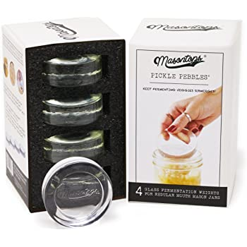 Masontops Pickle Pebble Glass Fermentation Weights for Mason Jars - Ferment Sauerkraut, Pickles, Kimchi and More in Small Batches - REGULAR/SMALL MOUTH - 4 Pack