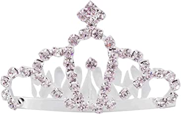 Aaishwarya Silver Glittering Stone Studded Princess Tiara Very Small Size Hair Comb for Women