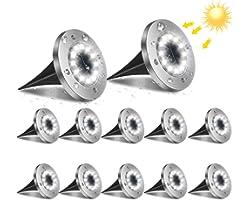 flintronic Lampe Solaire Extérieur, 12LED 12PCs Luminaire Jardin Au Sol Eclairage 6000K Etanche IP65 Lampe Solaire Spot Encas