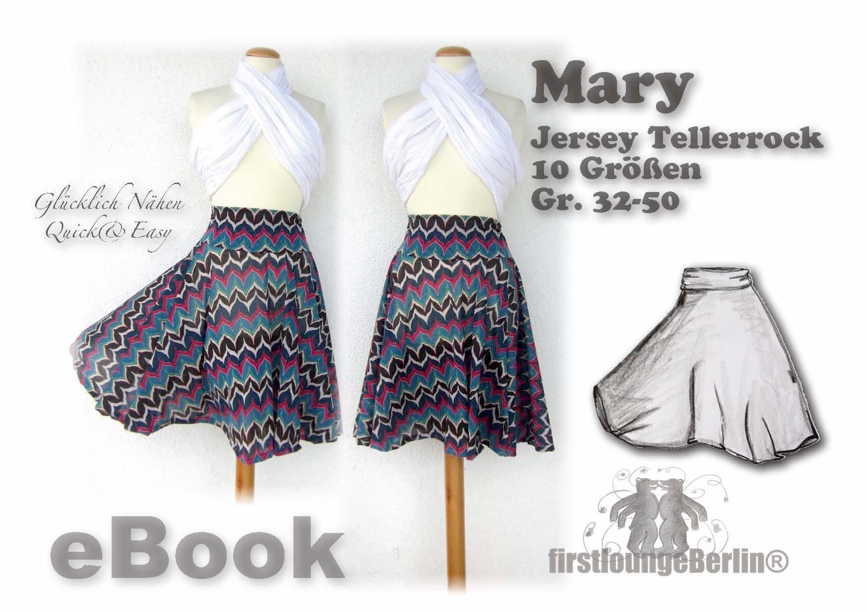 Preisvergleich Produktbild Mary Nähanleitung mit Schnittmuster für Tellerrock in 3 Längen von Gr. 32-50 [Download]