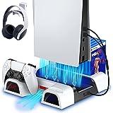 ECHTPower Support PS5 avec Ventilateur de Refroidissement pour Console PS5, Station de Recharge Manette PS5 avec LED Indicate