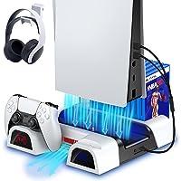 ECHTPower Support PS5 avec Ventilateur de Refroidissement pour Console PS5, Station de Recharge Manette PS5 avec LED…